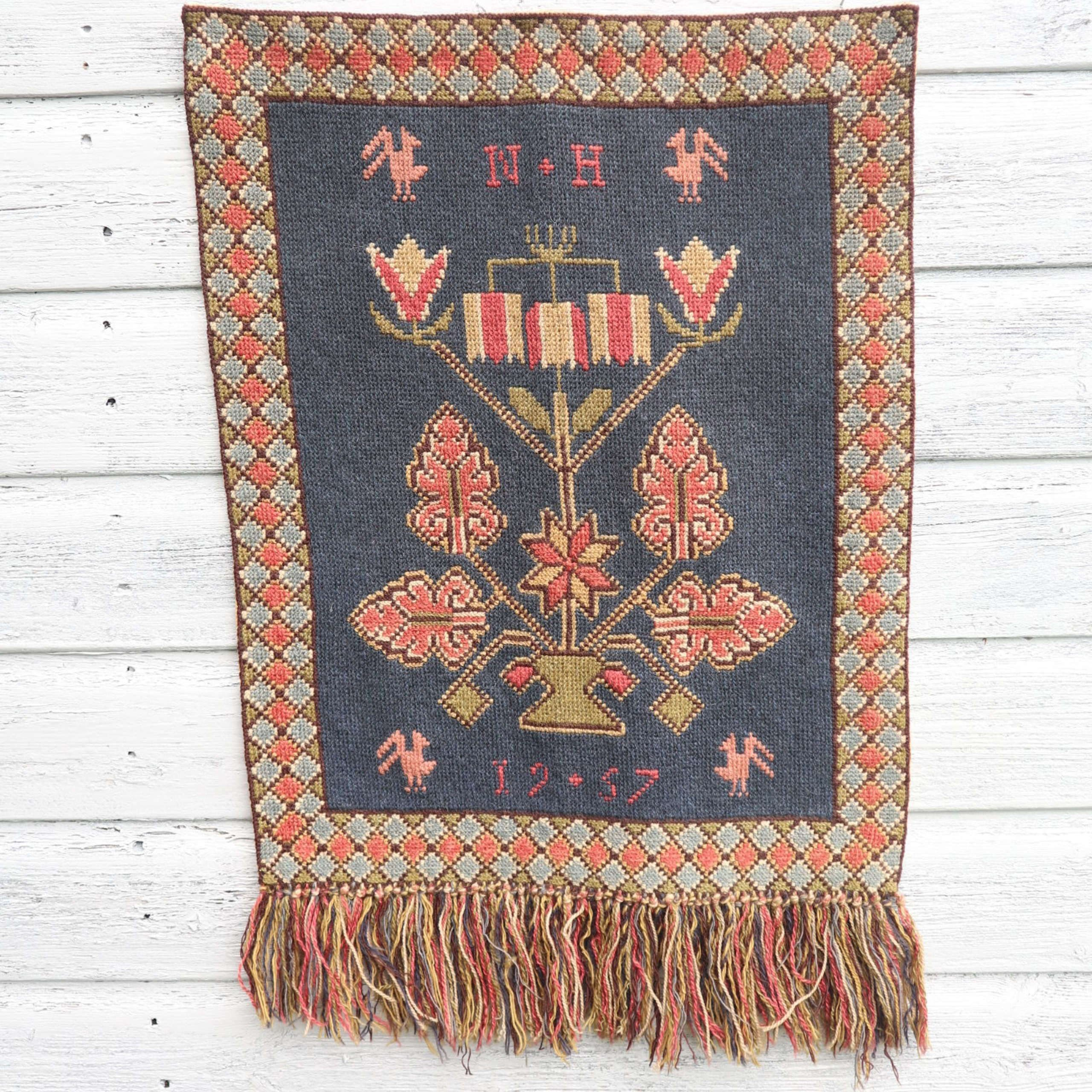 Scandinavian / Swedish Vintage Folk Art Hand Woven Wall In Most Recent Hand Woven Wall Hangings (View 12 of 20)