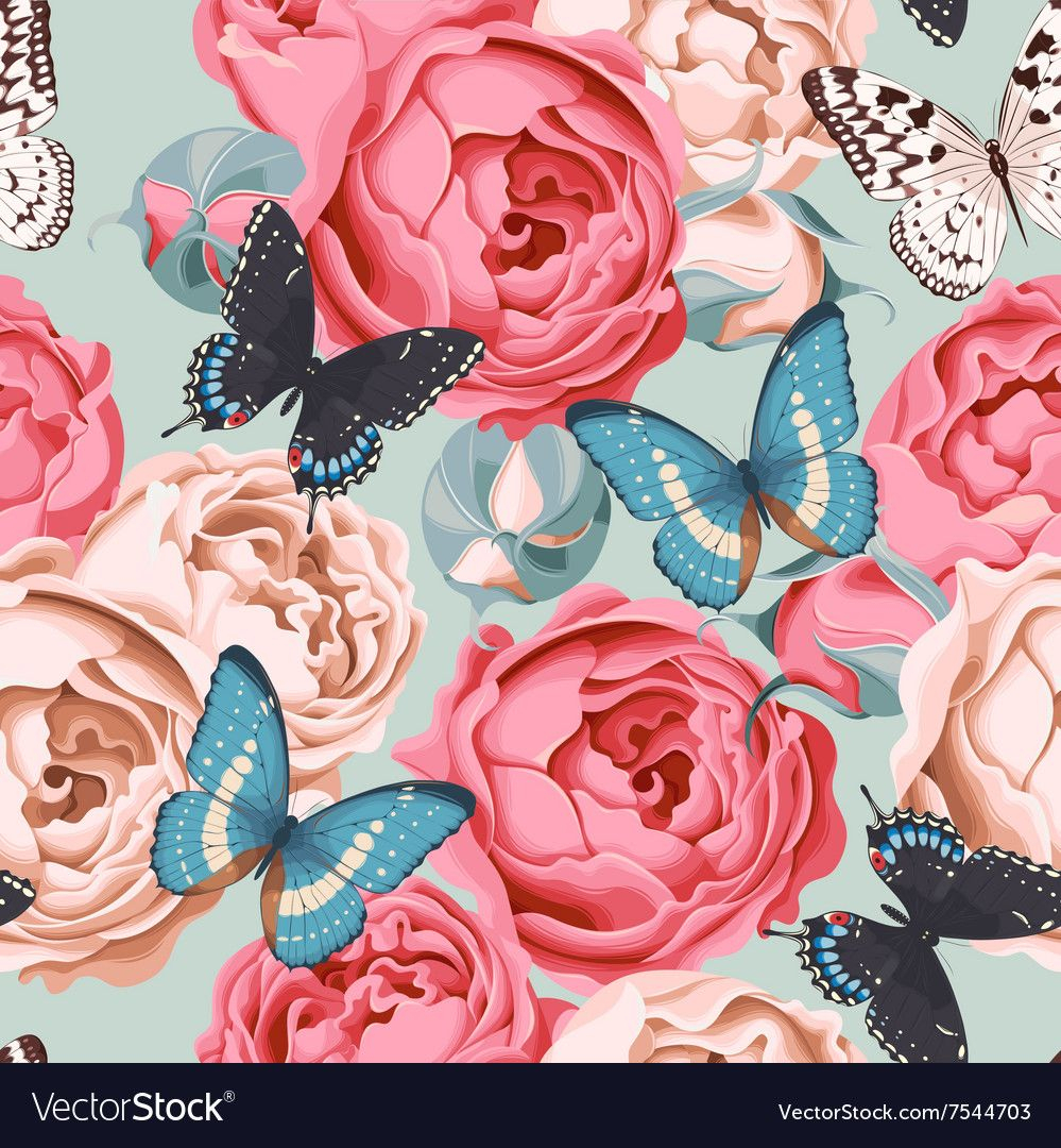 Seamless Peony Roses And Butterfly Vector Image On Inside 2018 Roses I Tapestries (View 10 of 20)