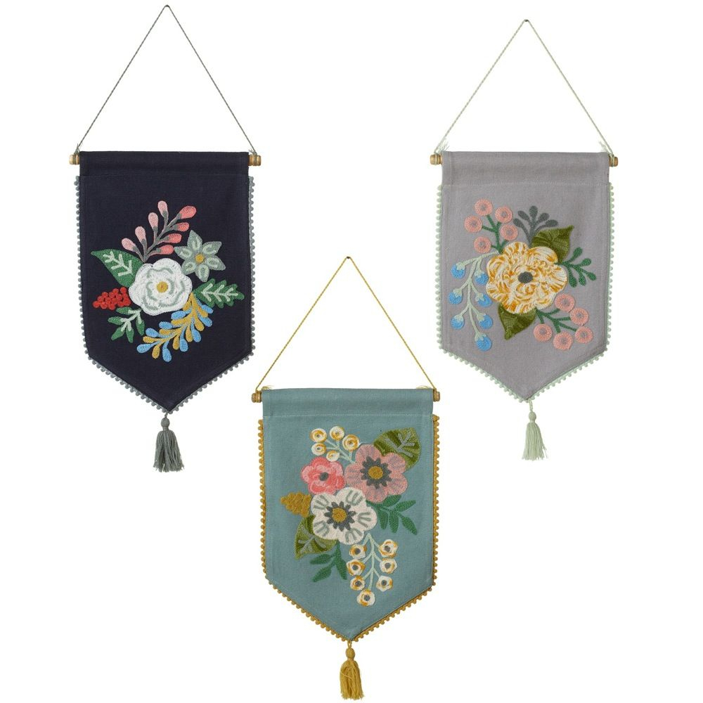Set Of 3 Black, Grey And Blue Embroidered Floral Wall For Most Recently Released Blended Fabric Celestial Wall Hangings (set Of 3) (View 1 of 20)
