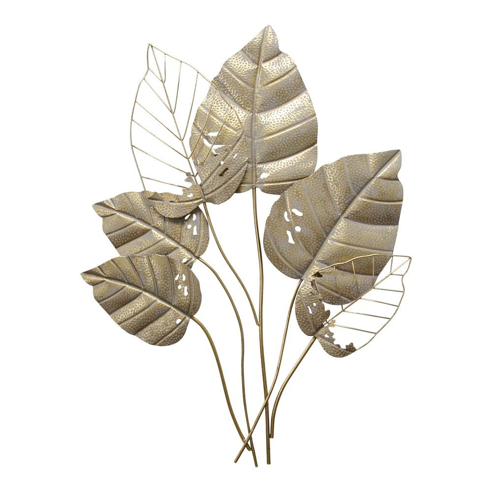 Stratton Home Decor Stratton Home Decor Metal Gold Leaves Wall Decor S30845 – The Home Depot Intended For 2017 Blended Fabric Leaves Wall Hangings (View 8 of 20)