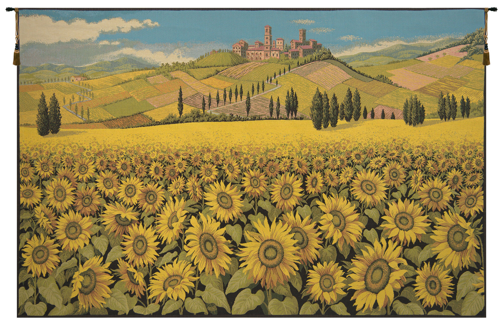 Sunflower Landscape Wall Hanging Regarding Most Popular Blended Fabric Crocifissione Wall Hangings (View 4 of 20)