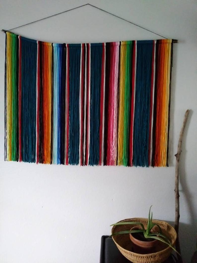 Taos | Mexican Serape Yarn Wall Hanging In Dark Teal | Bohemian Southwestern Beach Decor In Most Recently Released Blended Fabric Southwestern Bohemian Wall Hangings (View 9 of 20)