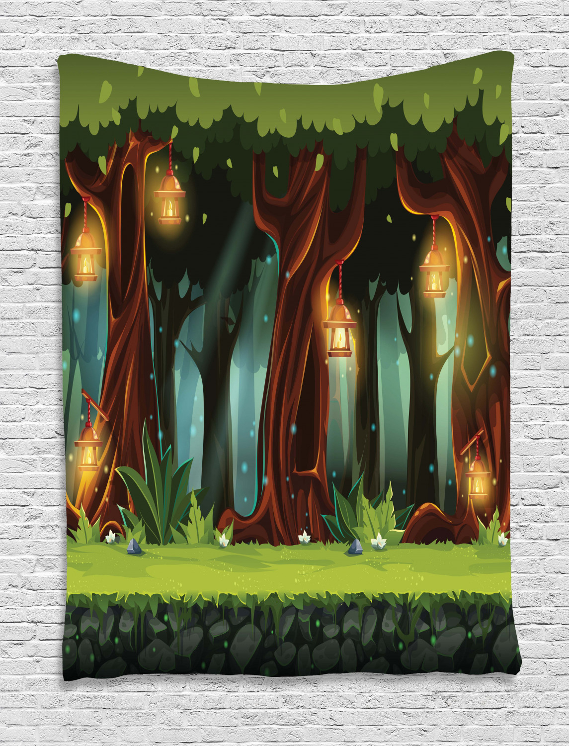 Tapestries Fairy Tale Tree House Tapestry Wall Hanging Decor Regarding Most Popular Blended Fabric Trust In The Lord Tapestries And Wall Hangings (View 14 of 20)
