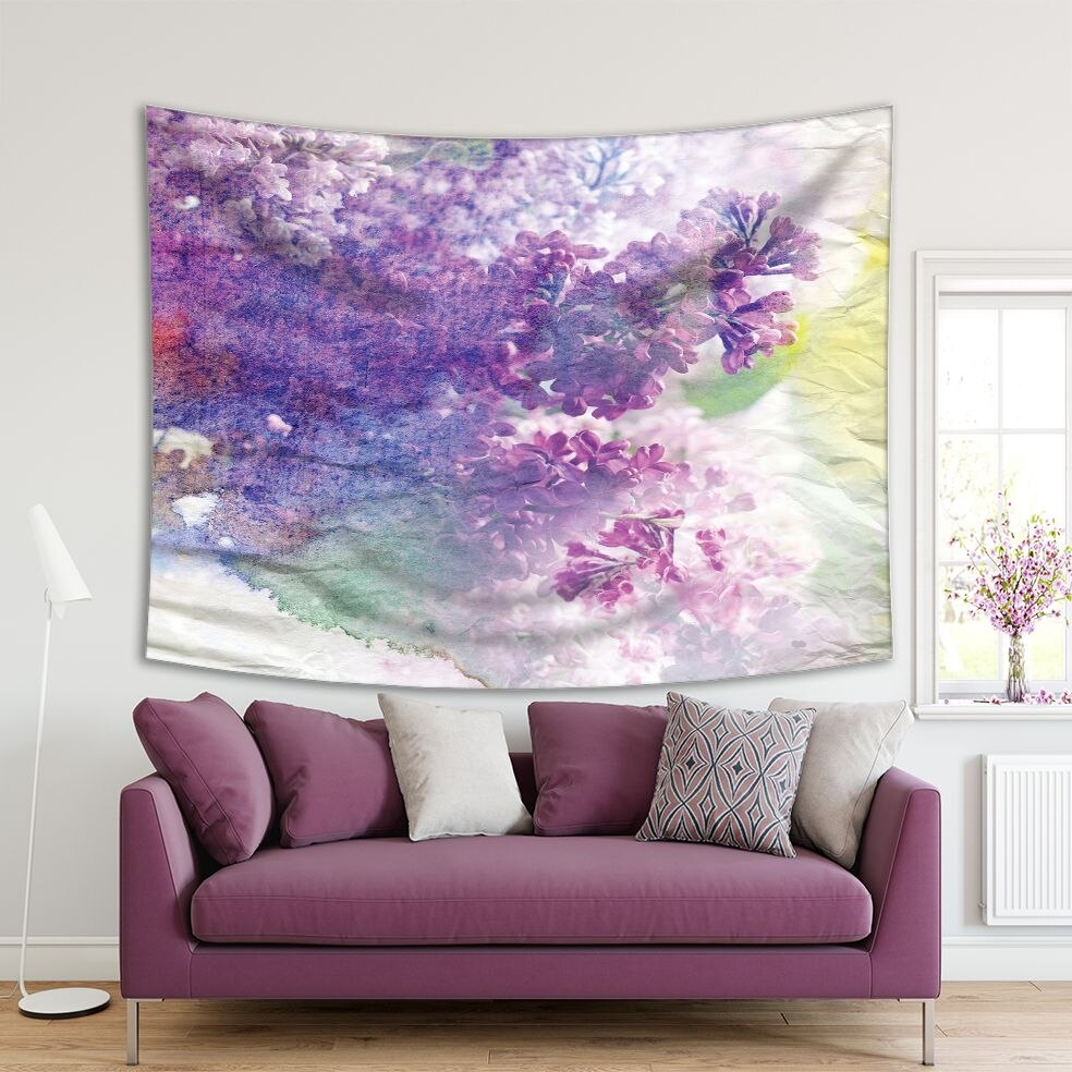 Tapestry Lilac Flowers Spring Garden Blossoms Sunny Day Distressed Grunge Artwork Purple Yellow Throughout Current Blended Fabric Spring Blossom Tapestries (View 16 of 20)