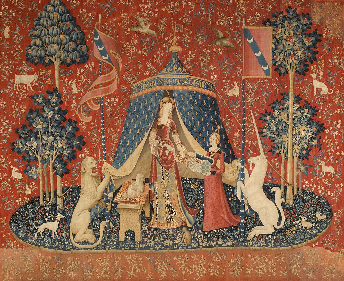The Lady And The Unicorn – Wikipedia With Regard To Most Up To Date Grandes Armoiries I European Tapestries (View 17 of 20)
