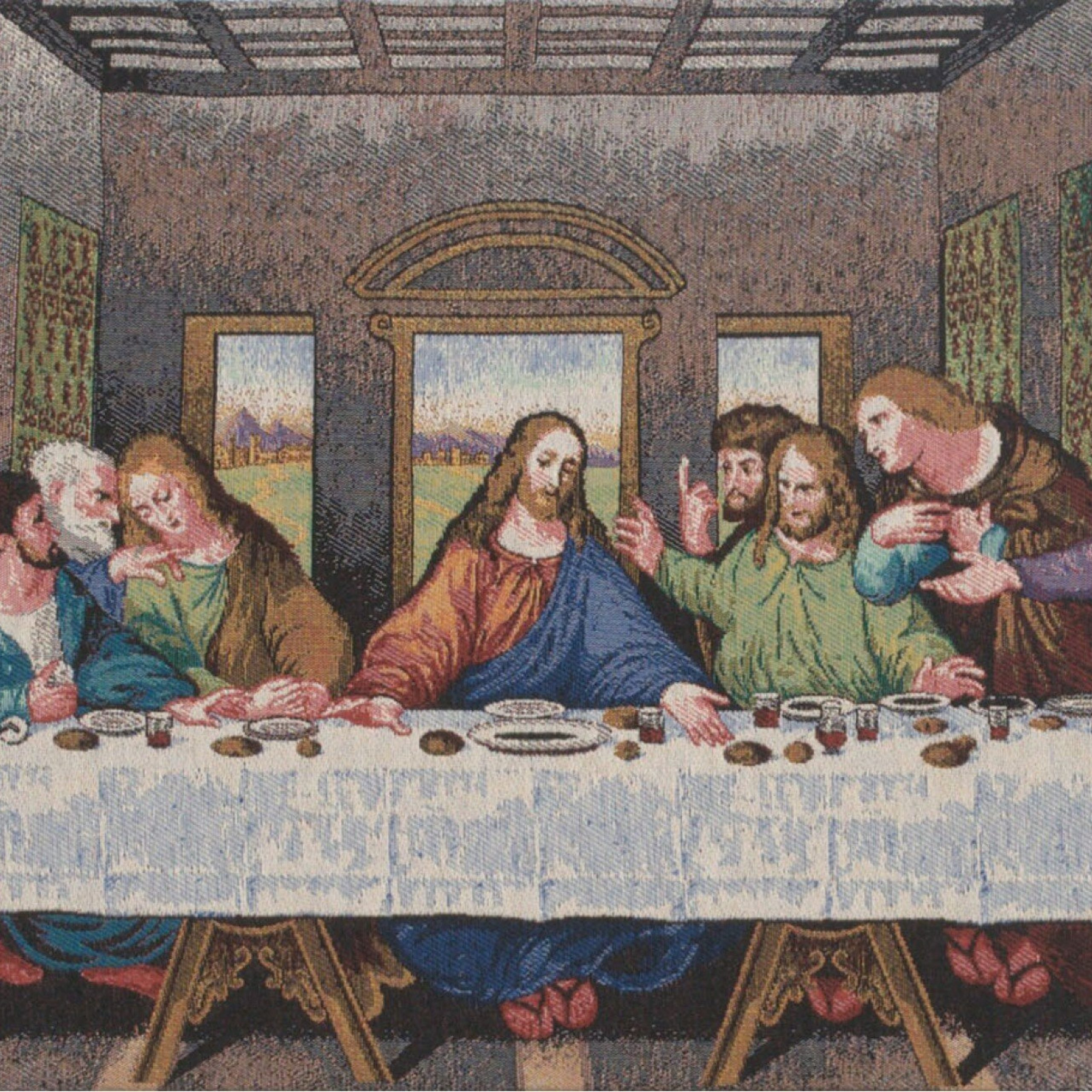 The Last Supper Panel Stretched Wall Tapestry Throughout Latest Blended Fabric Leonardo Davinci The Last Supper Wall Hangings (View 4 of 20)