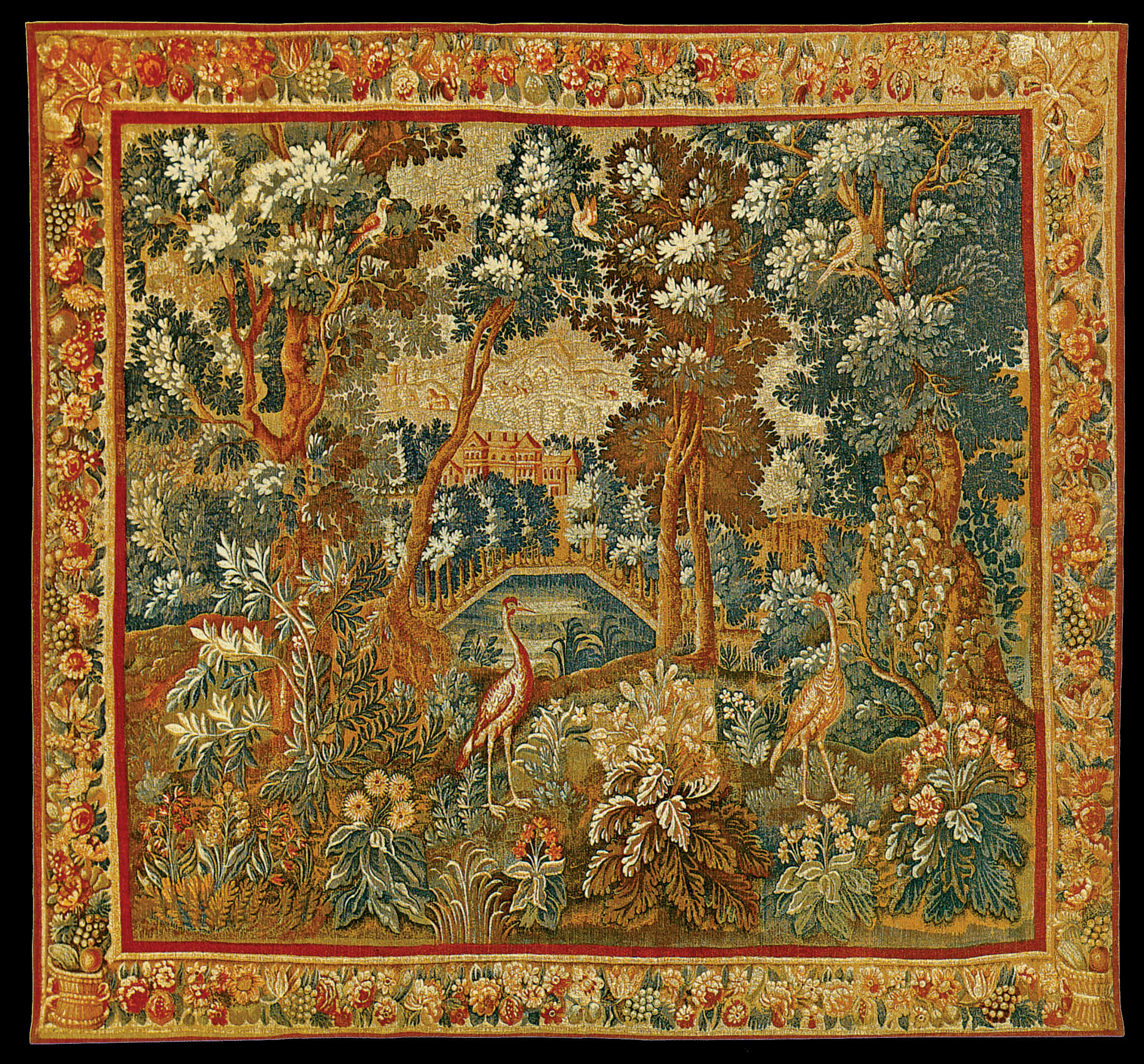 The Two Herons Tapestry With Regard To Best And Newest Blended Fabric Hidden Garden Chinoiserie Wall Hangings With Rod (View 8 of 20)