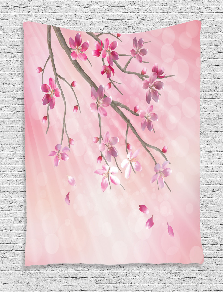 Tree Branch With Flowers Tapestry Throughout 2018 Blended Fabric Spring Blossom Tapestries (View 11 of 20)