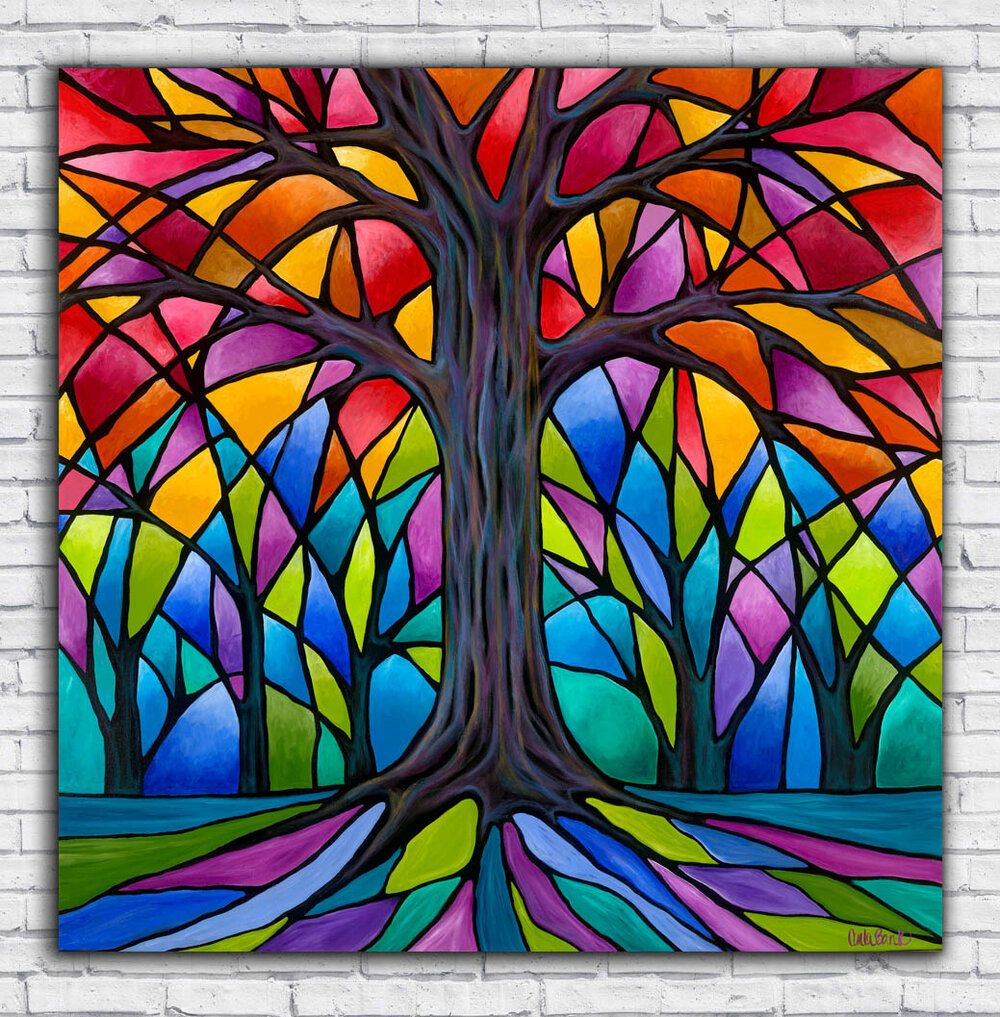 Tree Of Life Artwork On Paper, Canvas Or Metal — Carla Bank With Regard To Best And Newest Blended Fabric Pastel Tree Of Life Wall Hangings (View 5 of 20)