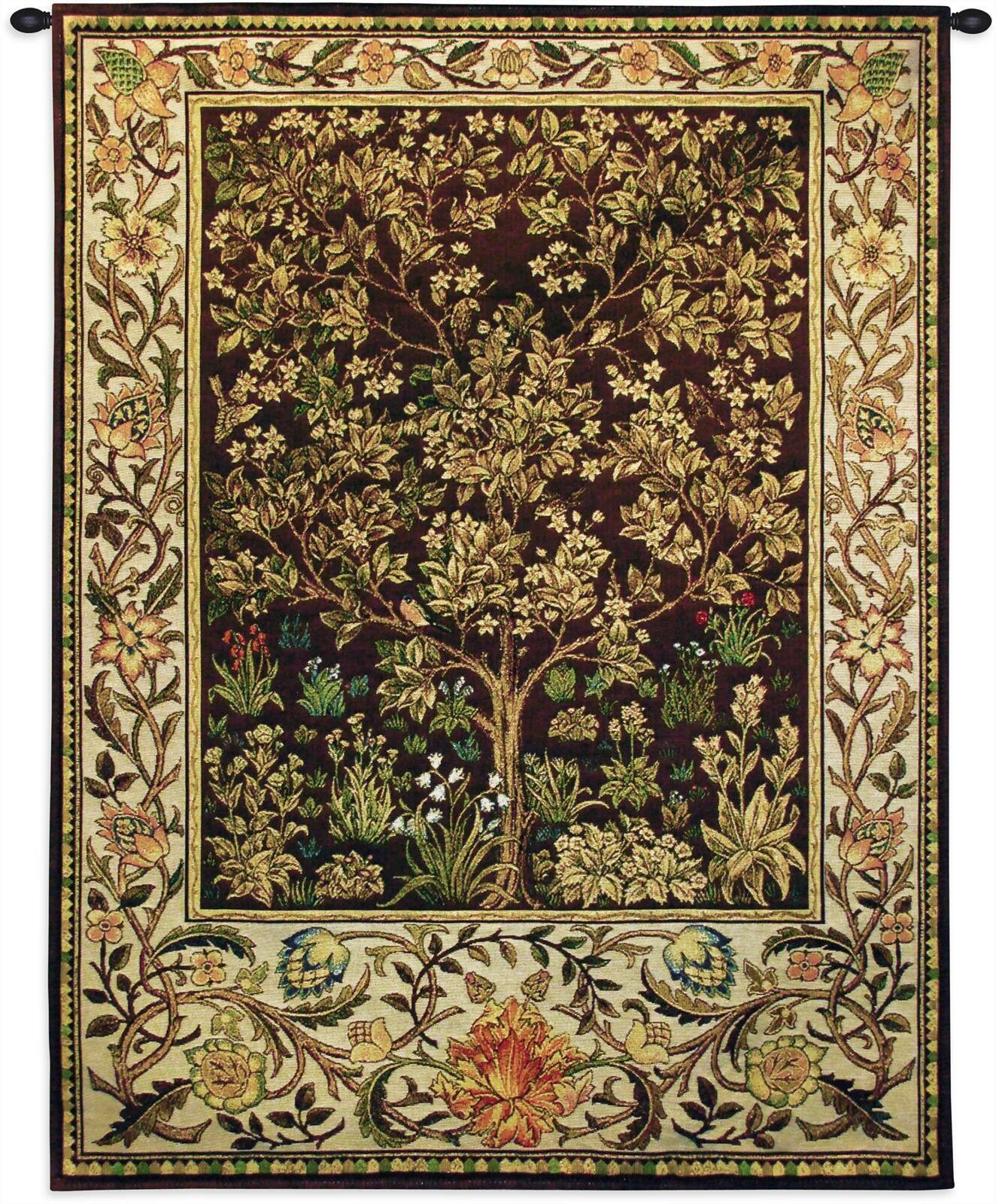 Tree Of Life Umber Bw Tapestry Regarding Most Recently Released Blended Fabric Havenwood Chinoiserie Tapestries Rod Included (View 12 of 20)