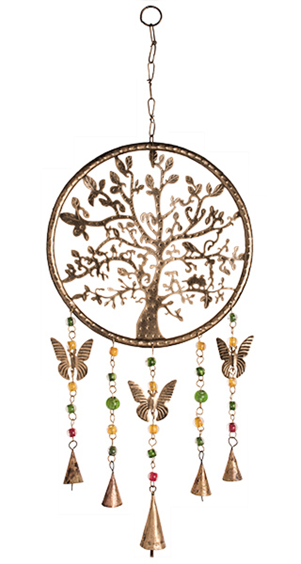 Tree Of Life Windchime With Butterflies Bells And Beads In 2018 Blended Fabric Pastel Tree Of Life Wall Hangings (View 16 of 20)