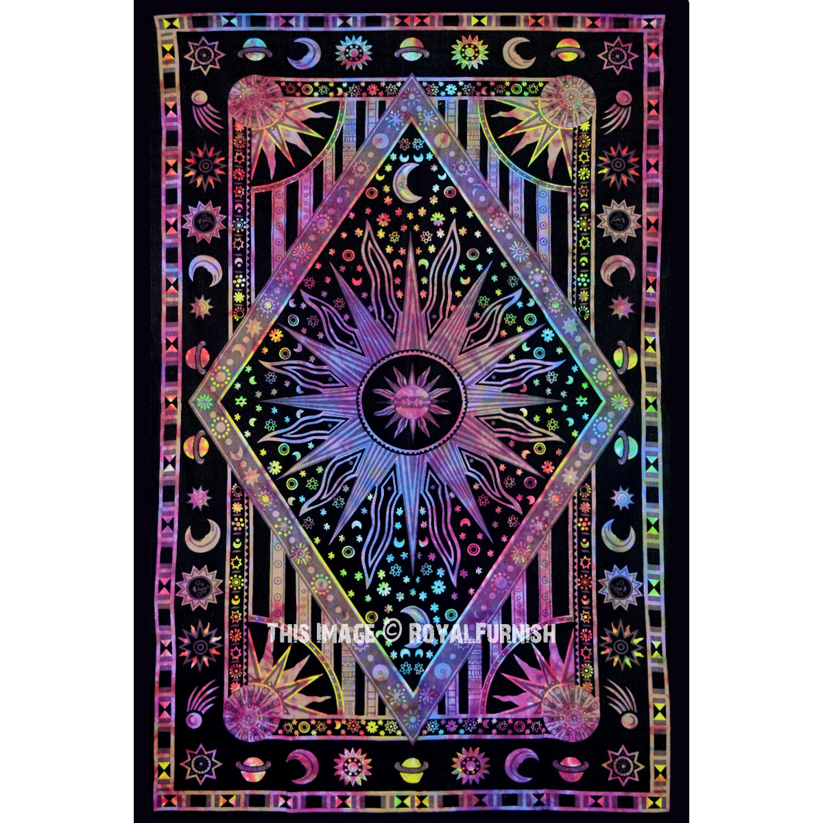 Twin Multi Tie Dye Celestial Sun Moon Stars Hippie Cotton Tapestry Wall  Hanging With Regard To Most Current Blended Fabric Celestial Wall Hangings (set Of 3) (View 6 of 20)