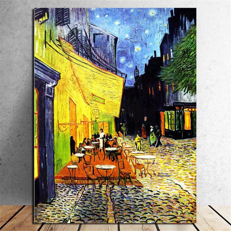 Van Gogh Art Canvas Print Paintings Starry Night With The Within 2017 Blended Fabric Van Gogh Terrace Wall Hangings (View 9 of 20)