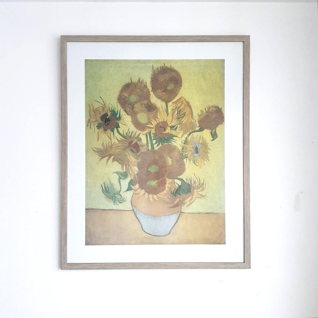 Van Gogh Framed Sunflowers Art Print With Recent Blended Fabric Van Gogh Terrace Wall Hangings (View 15 of 20)