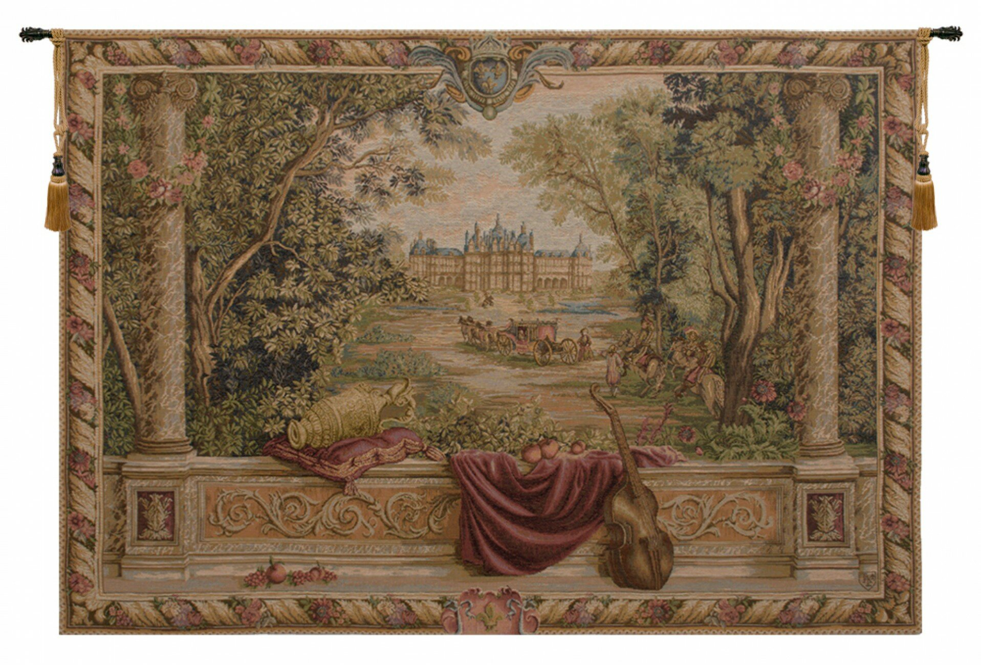 Verdure Au Chateau Ii European Tapestry In Most Popular Blended Fabric Chateau Bellevue European Tapestries (View 4 of 20)