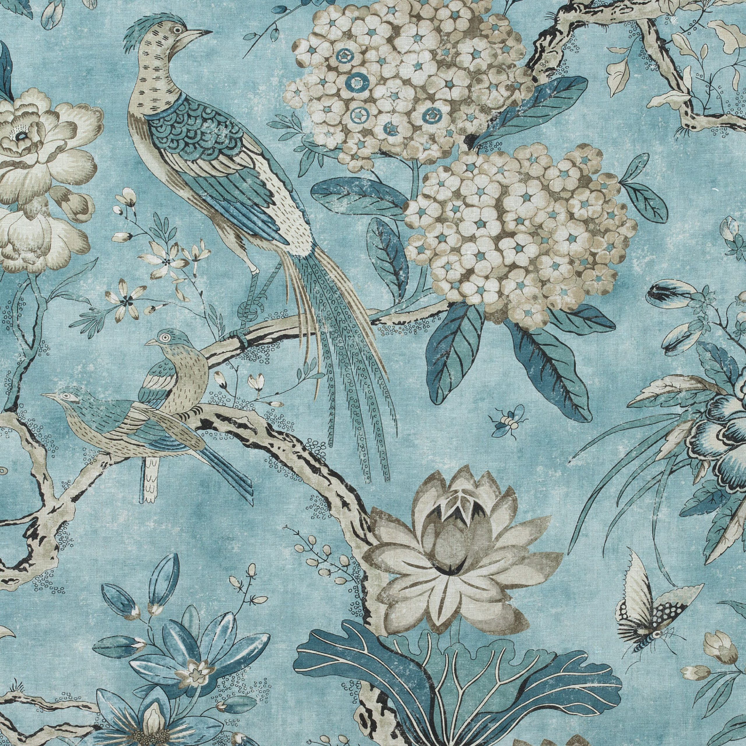 Villeneuve, Aqua, Af72996, Collection Manor From Anna French With Current Blended Fabric Classic French Rococo Woven Tapestries (View 13 of 20)