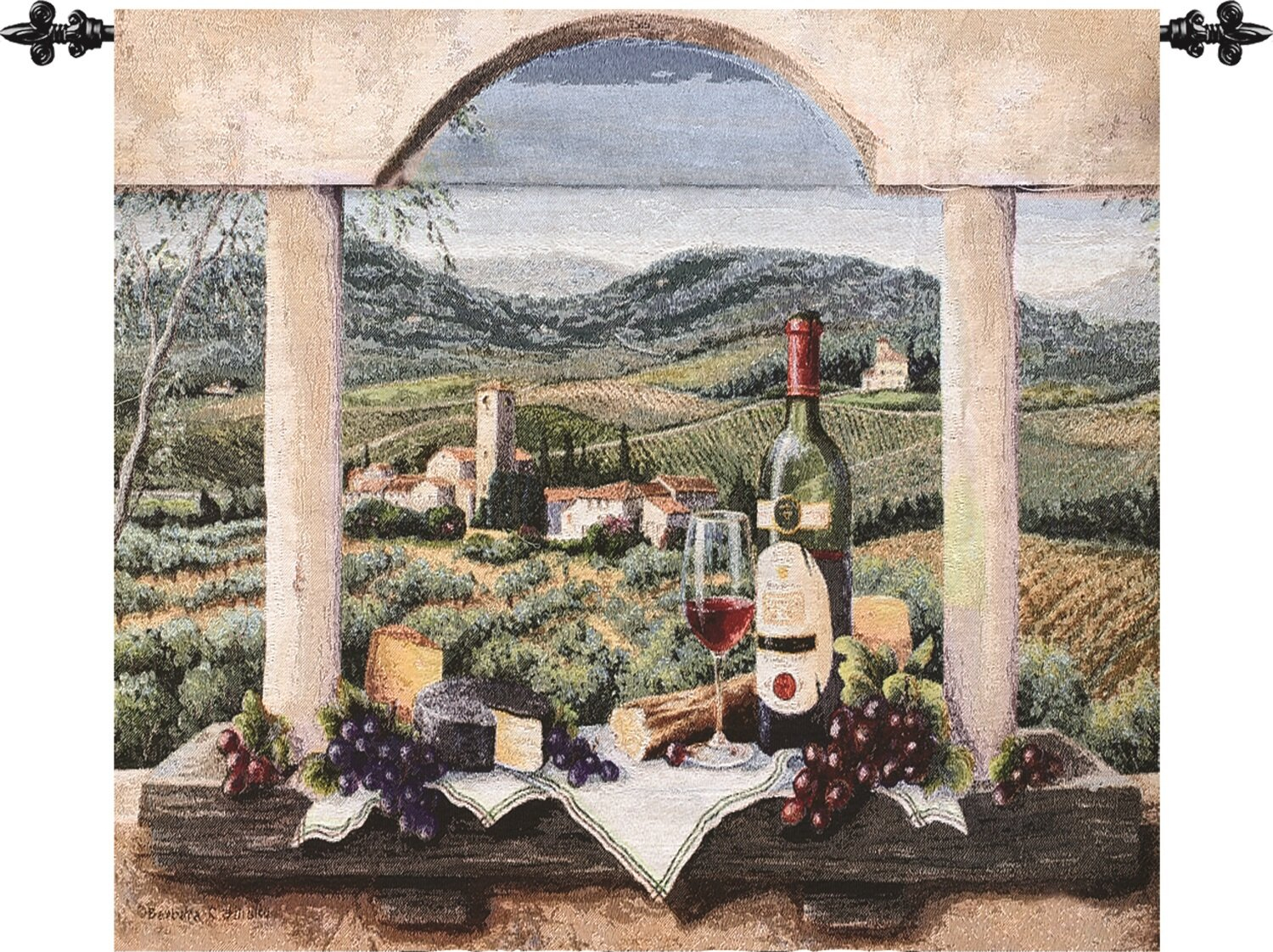 Vin De Provence Tapestry Intended For Most Recent Blended Fabric Classic French Rococo Woven Tapestries (View 11 of 20)