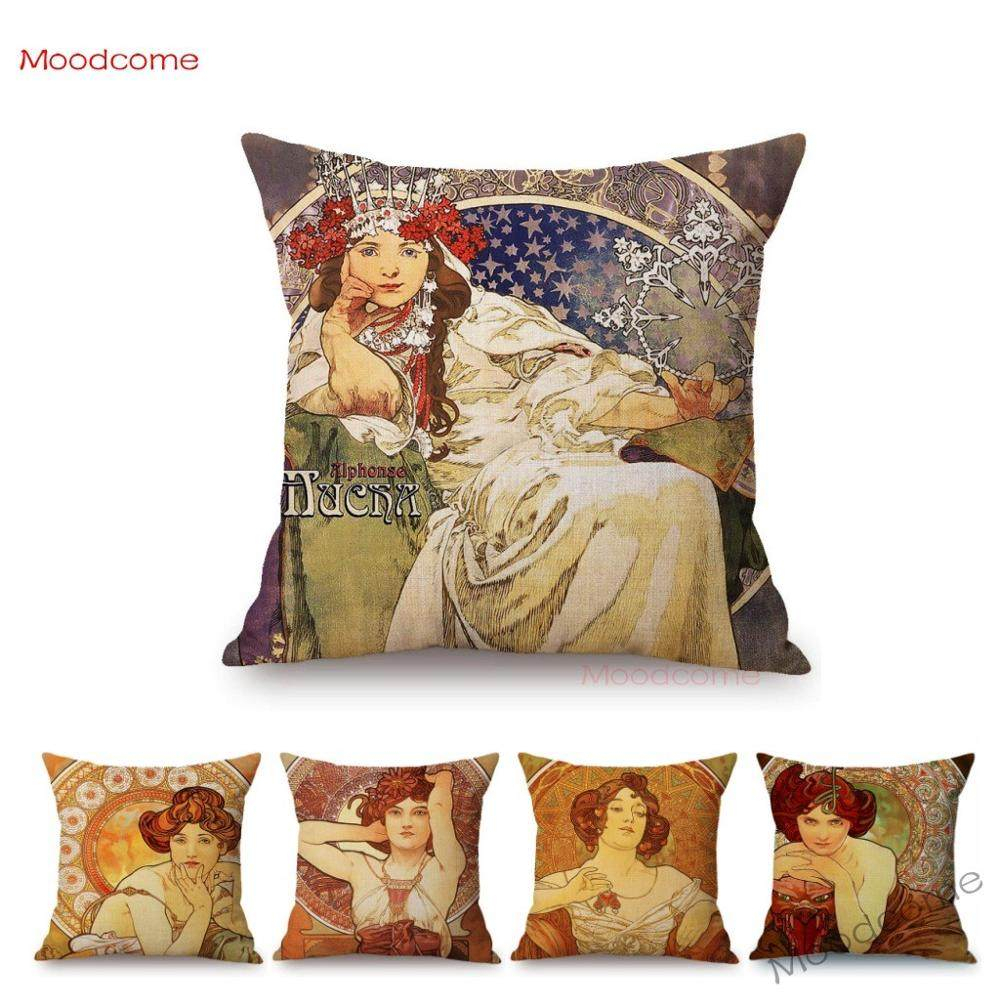 Vintage European Art Nouveau Mucha Gallery Decorative Cushion Sofa Pillowcase Beautiful Girl Cotton Linen Cushion Cover 45x45 Cm In Newest Blended Fabric Mucha Spring European Wall Hangings (View 13 of 20)