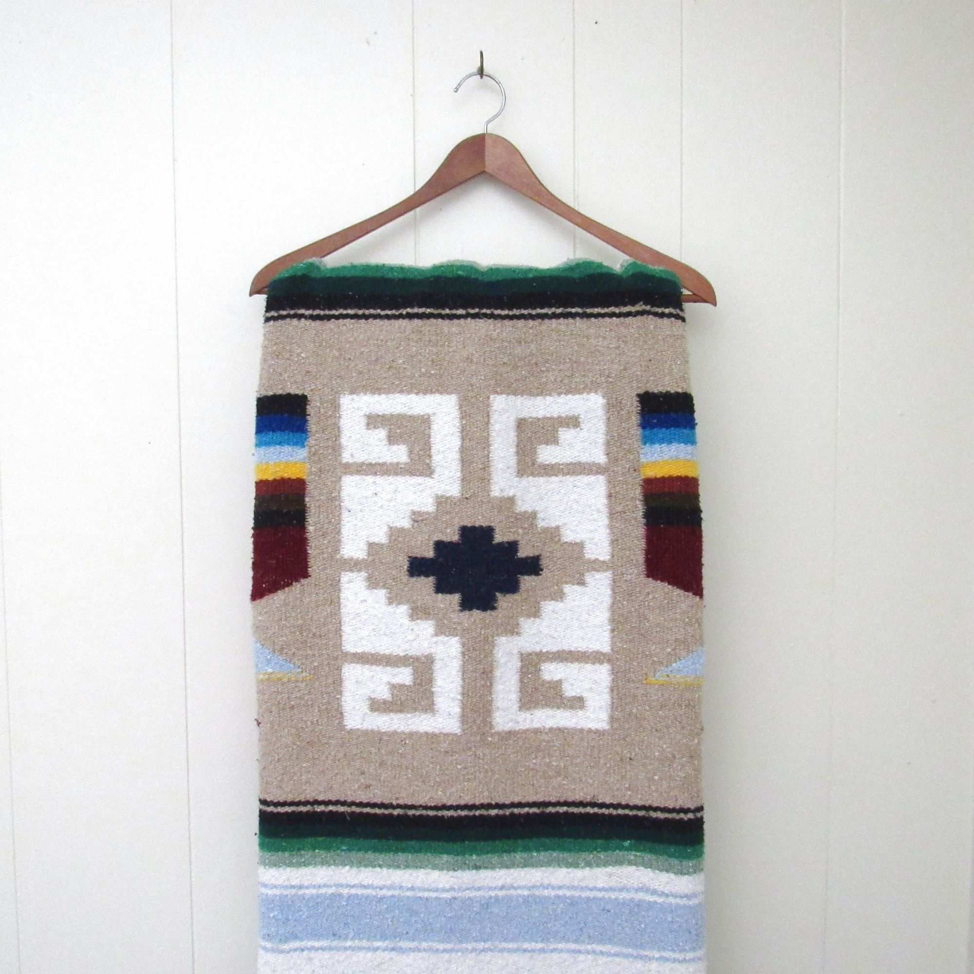 Vintage Mexican Blanket – 90s Woven Cotton Blend Southwest Inside Most Recent Blended Fabric Southwestern Bohemian Wall Hangings (View 13 of 20)