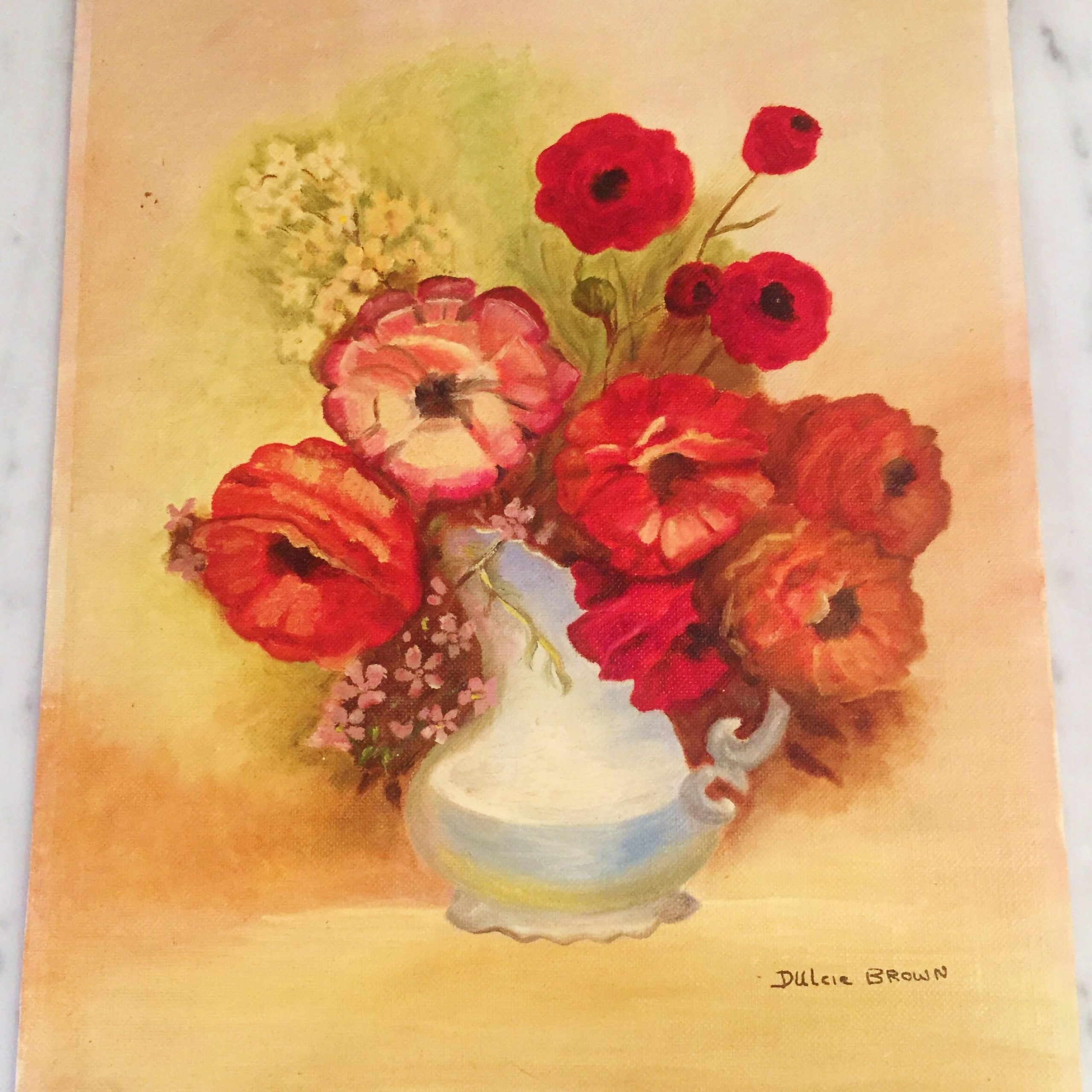 Vintage Poppy Painting, Vintage Floral Art, Poppy Canvas Pertaining To 2018 Blended Fabric Poppy Red Wall Hangings (View 15 of 20)