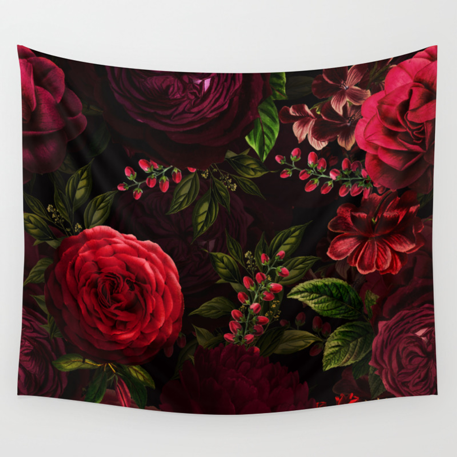 Vintage & Shabby Chic – Vintage & Shabby Chic – Mystical Night Roses Wall Tapestryvintage Love Intended For Most Recently Released Roses I Tapestries (View 8 of 20)