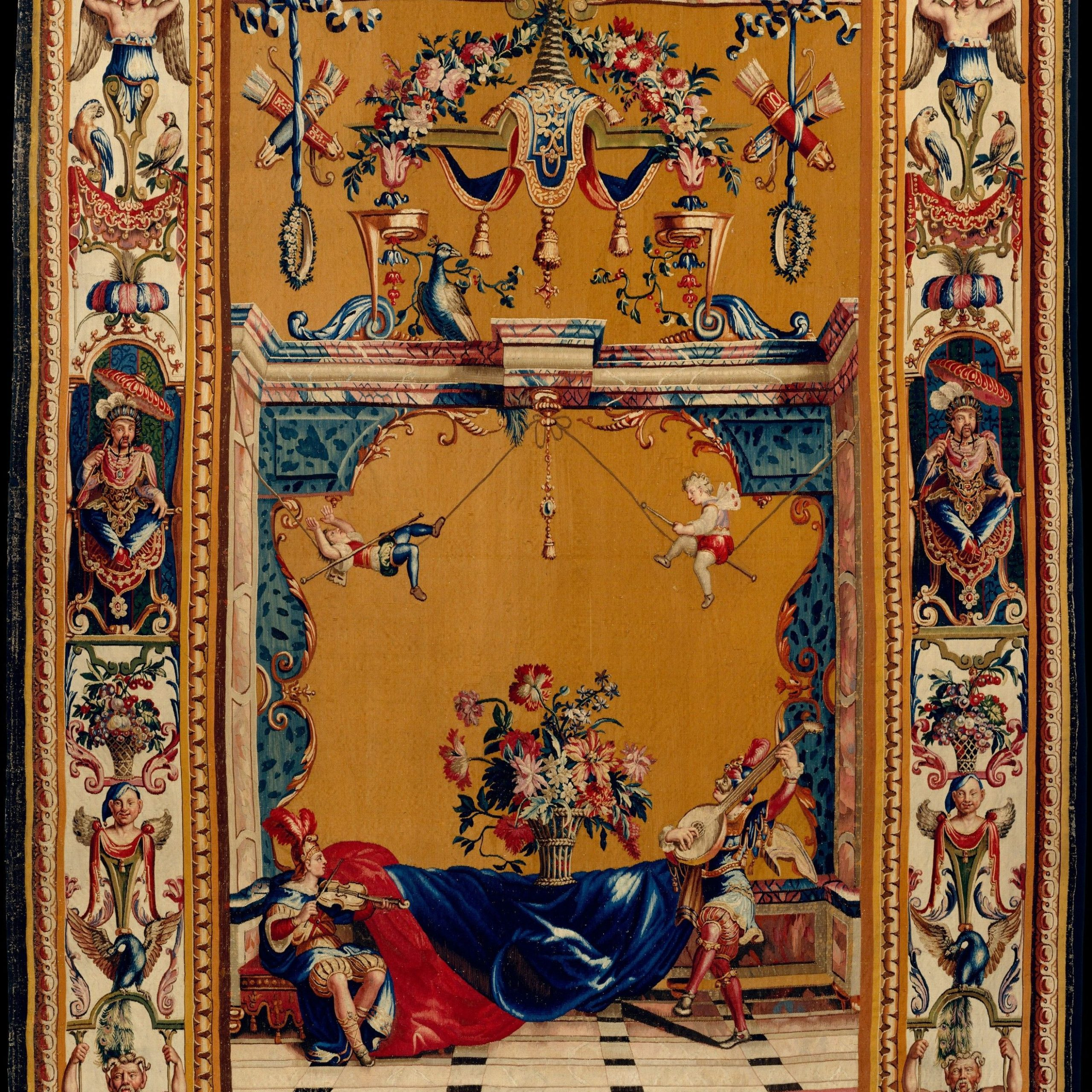 Violin And Lute Players From A Set Of Five Grotesques Jean Within Most Up To Date Blended Fabric Ethereal Days Chinoiserie Wall Hangings With Rod (View 9 of 20)