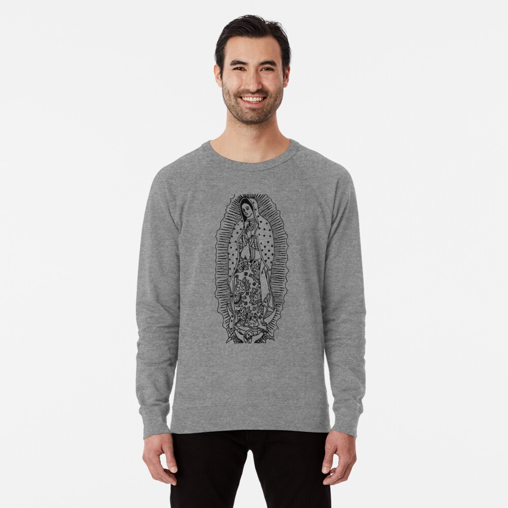 Virgen De Guadalupe Our Lady Of Guadalupe Black And White Design Wall Art Catholic Prints | Lightweight Sweatshirt In Most Recently Released Blended Fabric Our Lady Of Guadalupe Wall Hangings (View 11 of 20)