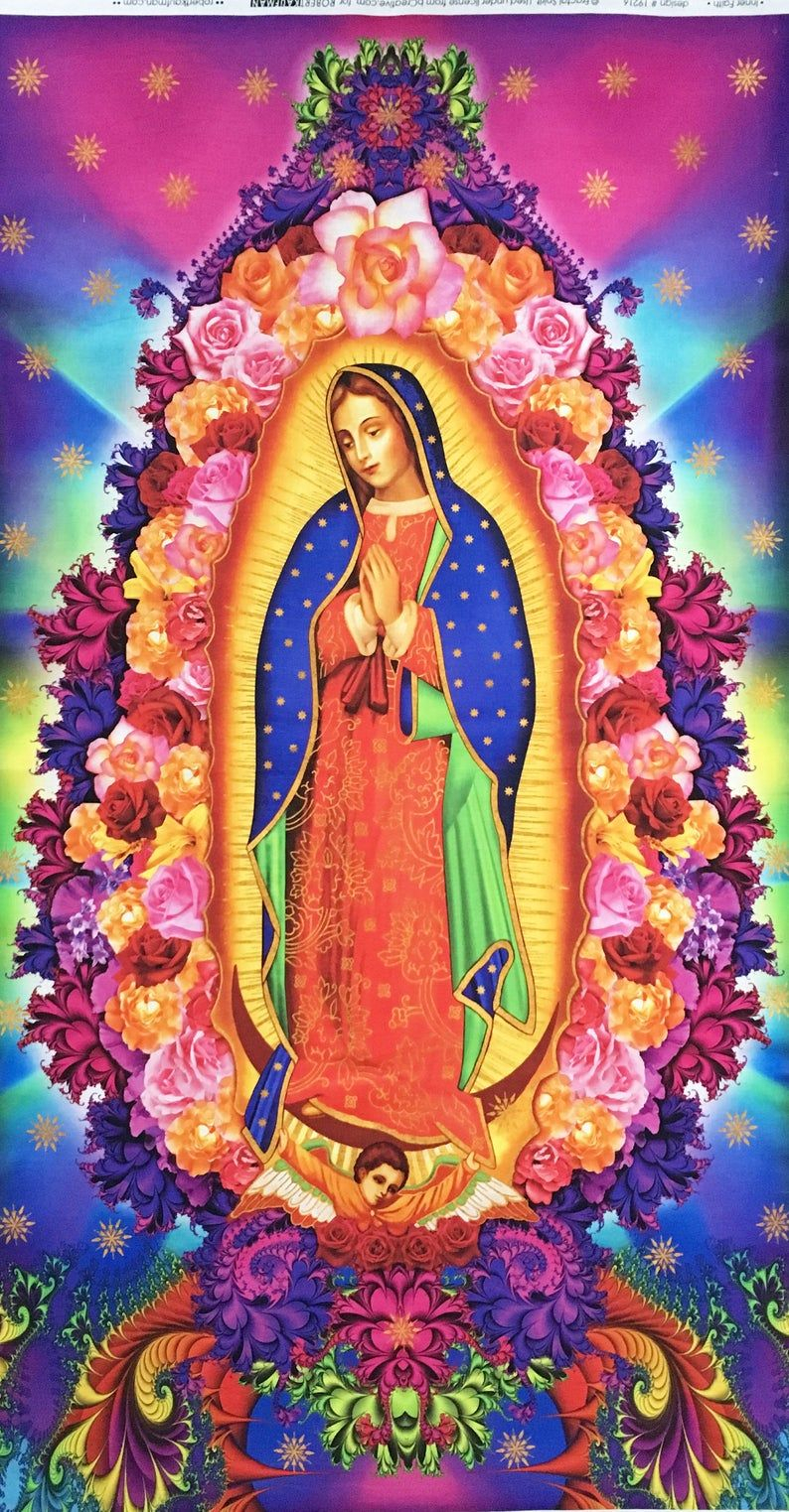 Virgin Lady Of Guadalupe Grand Panneau De Tissu Nuestra Intended For Most Up To Date Blended Fabric Our Lady Of Guadalupe Wall Hangings (View 9 of 20)