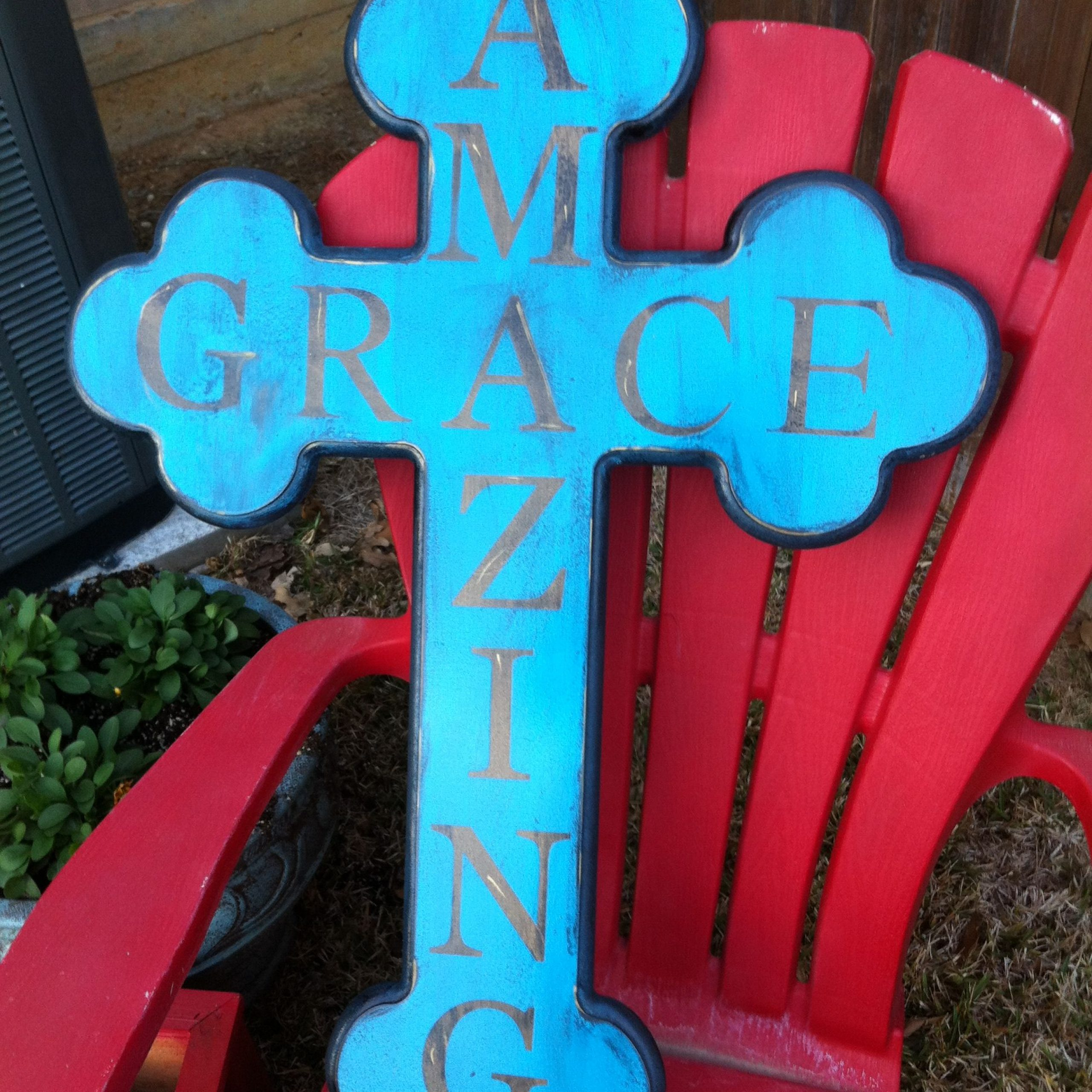 Wall Crossmade Of Wood, Paint & Letter Stencils Intended For 2018 Blended Fabric Old Rugged Cross Wall Hangings (View 2 of 20)