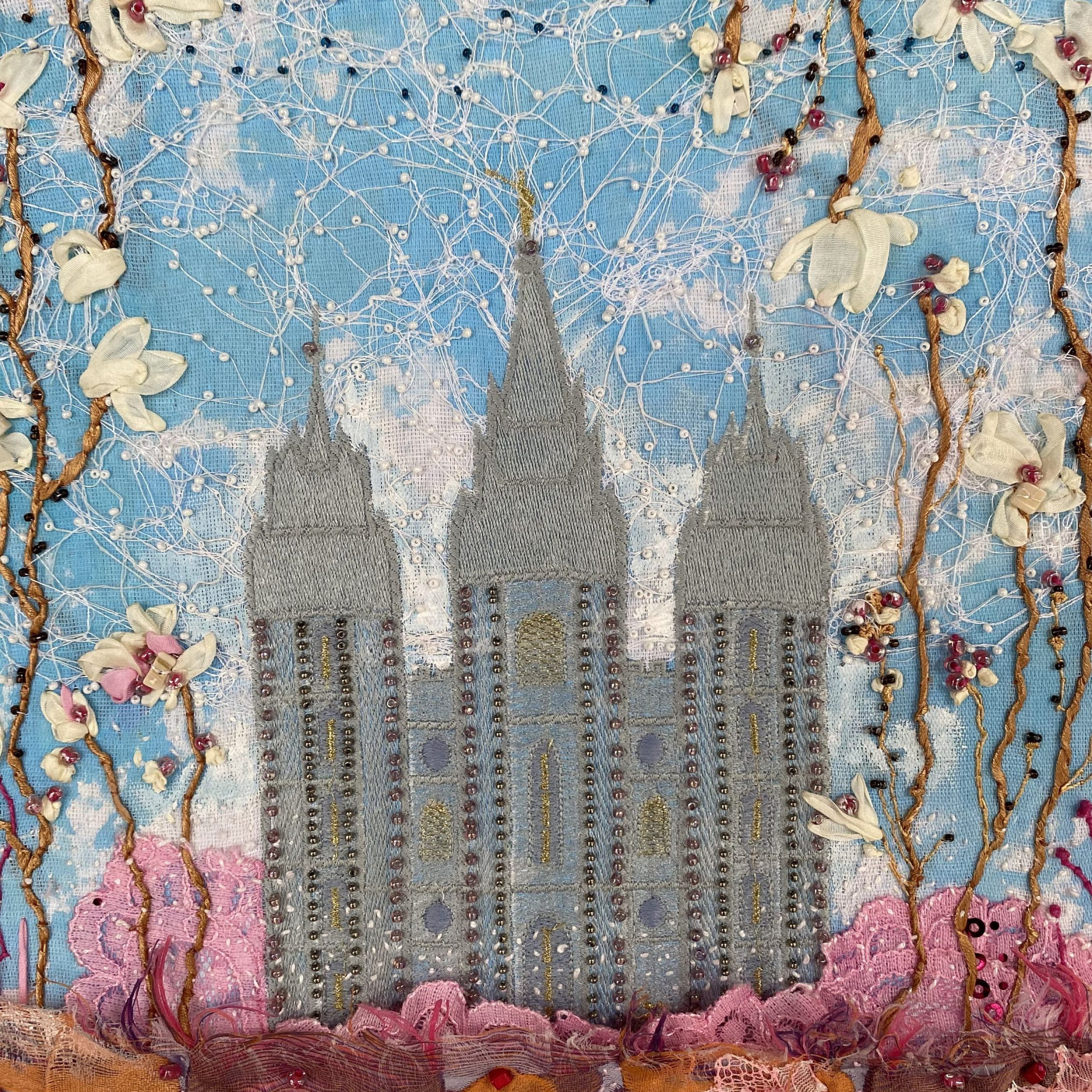 Wall Decor. Textile Art. Fiber Arts. Mormon Temple (View 3 of 20)