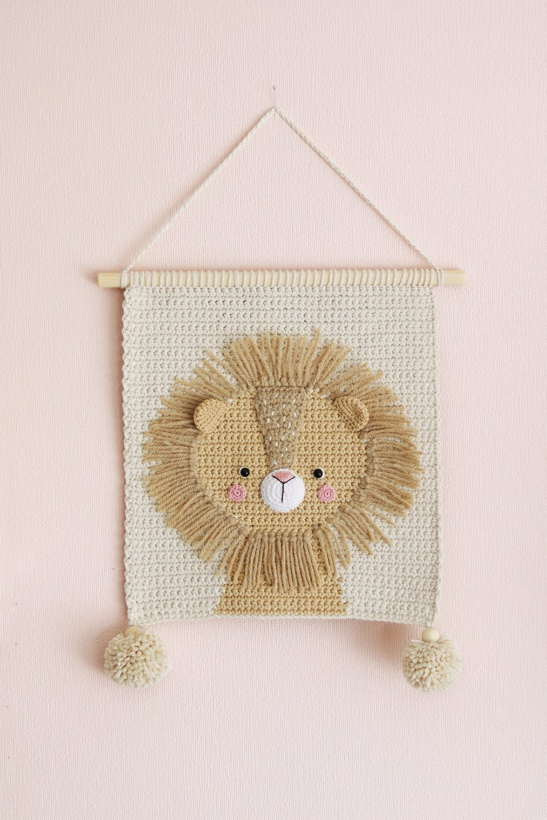 Wall Hanging Wall Decor Crochet Decor Nursery Wall Decor Pertaining To Most Up To Date Blended Fabric Wall Hangings With Hanging Accessories Included (View 10 of 20)