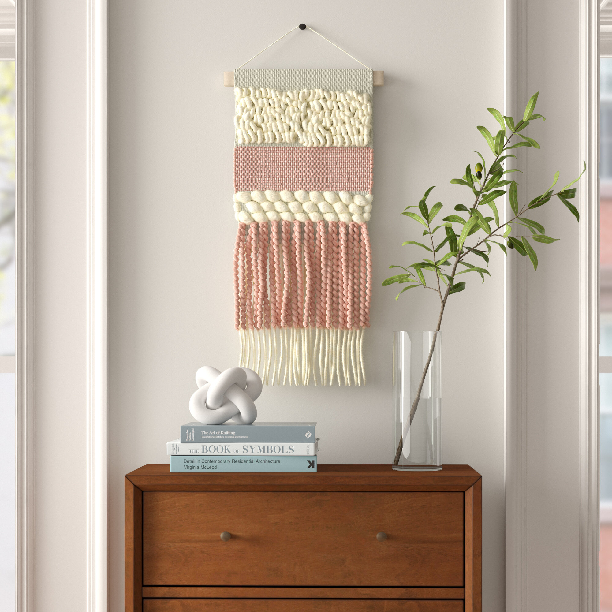 Wall Hanging With Hanging Accessories Inside Most Up To Date Blended Fabric Hohl Wall Hangings With Rod (View 4 of 20)