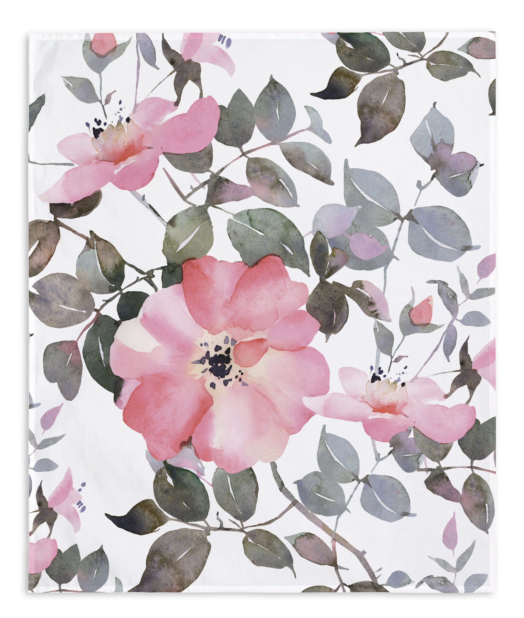 Watercolor Flower Wall Tapestry Intended For Latest Blended Fabric Spring Blossom Tapestries (View 15 of 20)