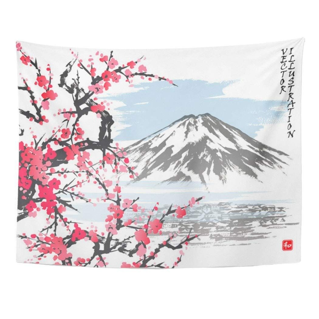 Watercolor Mountain Fuji And Spring Oriental Cherry Blossoms Pertaining To 2018 Blended Fabric Spring Blossom Tapestries (View 8 of 20)