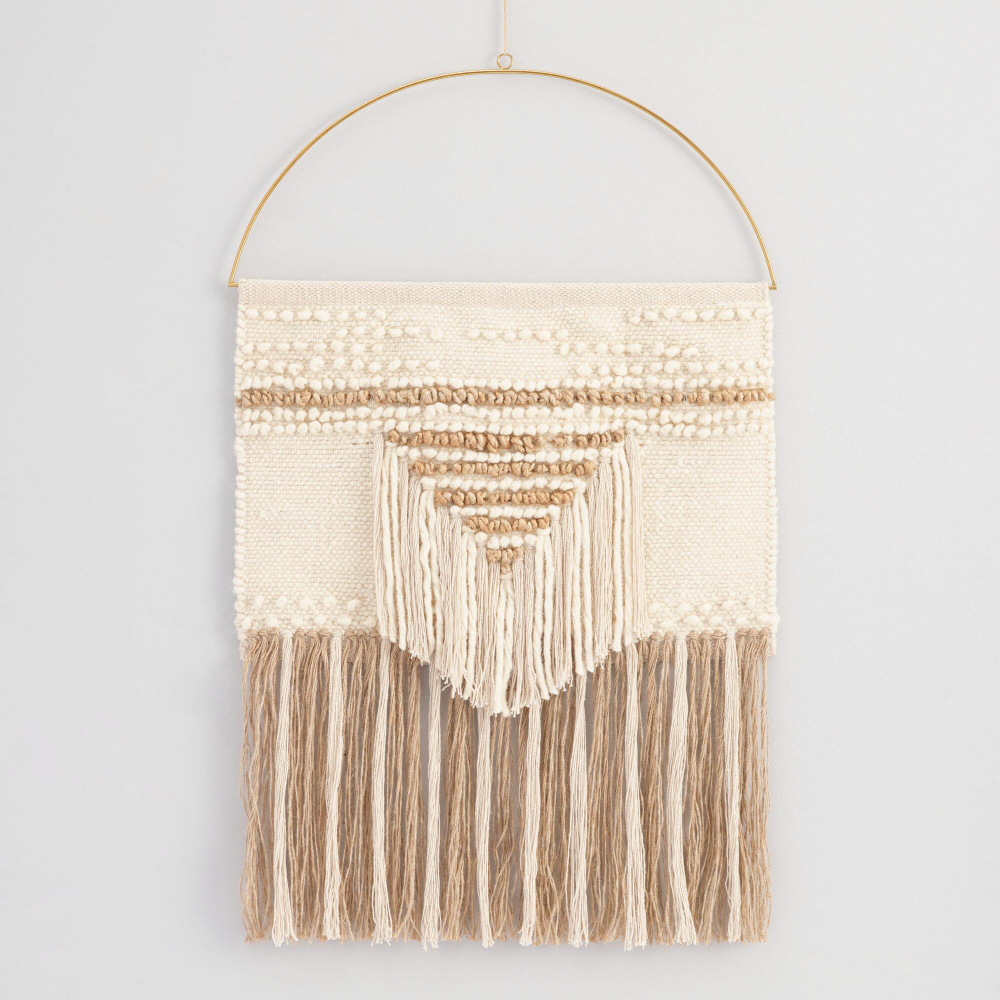 White And Gold Woven Wall Hanging | Woven Wall Hanging, Wall Regarding Most Up To Date Blended Fabric Saiful Wall Hangings With Rod (View 9 of 20)