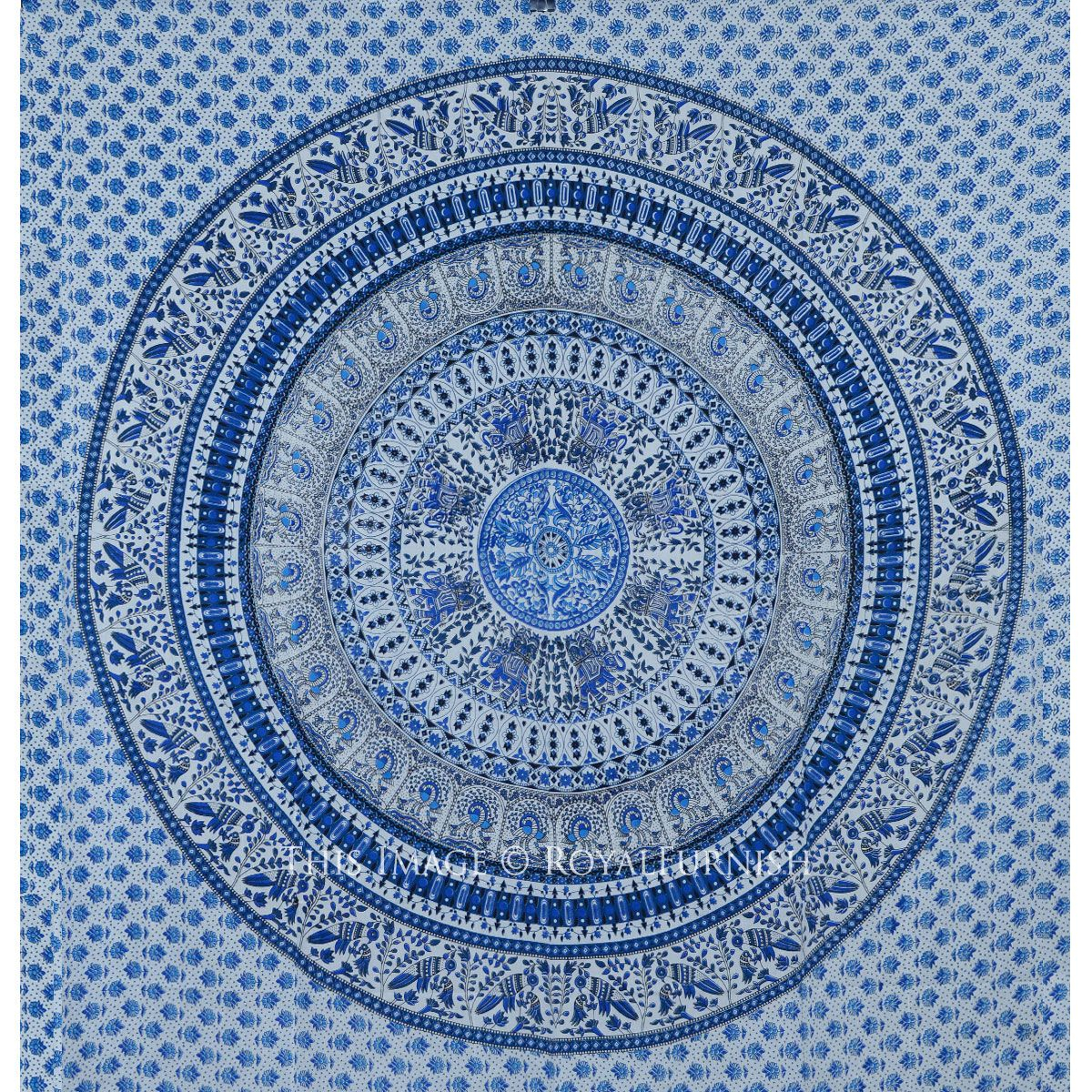 White Light Blue Bohemian Birds Mandala Tapestry Wall With Regard To Most Current Blended Fabric Peacock European Tapestries (View 12 of 20)