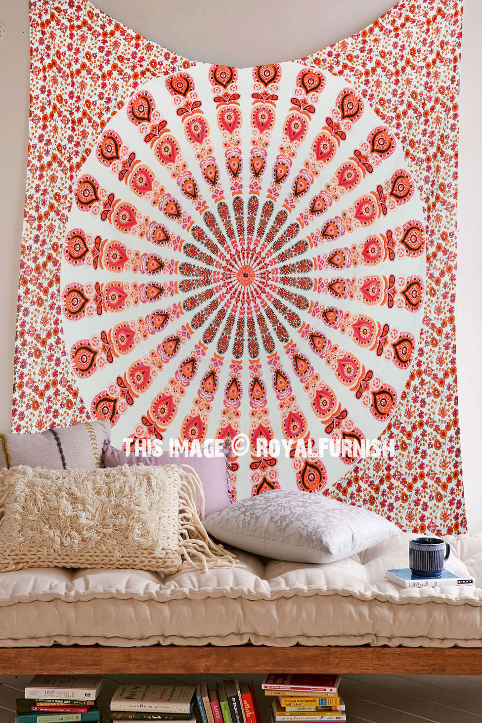 White & Orange Mixed Mandala Tapestry, Hippie Boho Wall Hanging Bedspread Regarding Most Current Blended Fabric Living Life Tapestries (View 6 of 20)