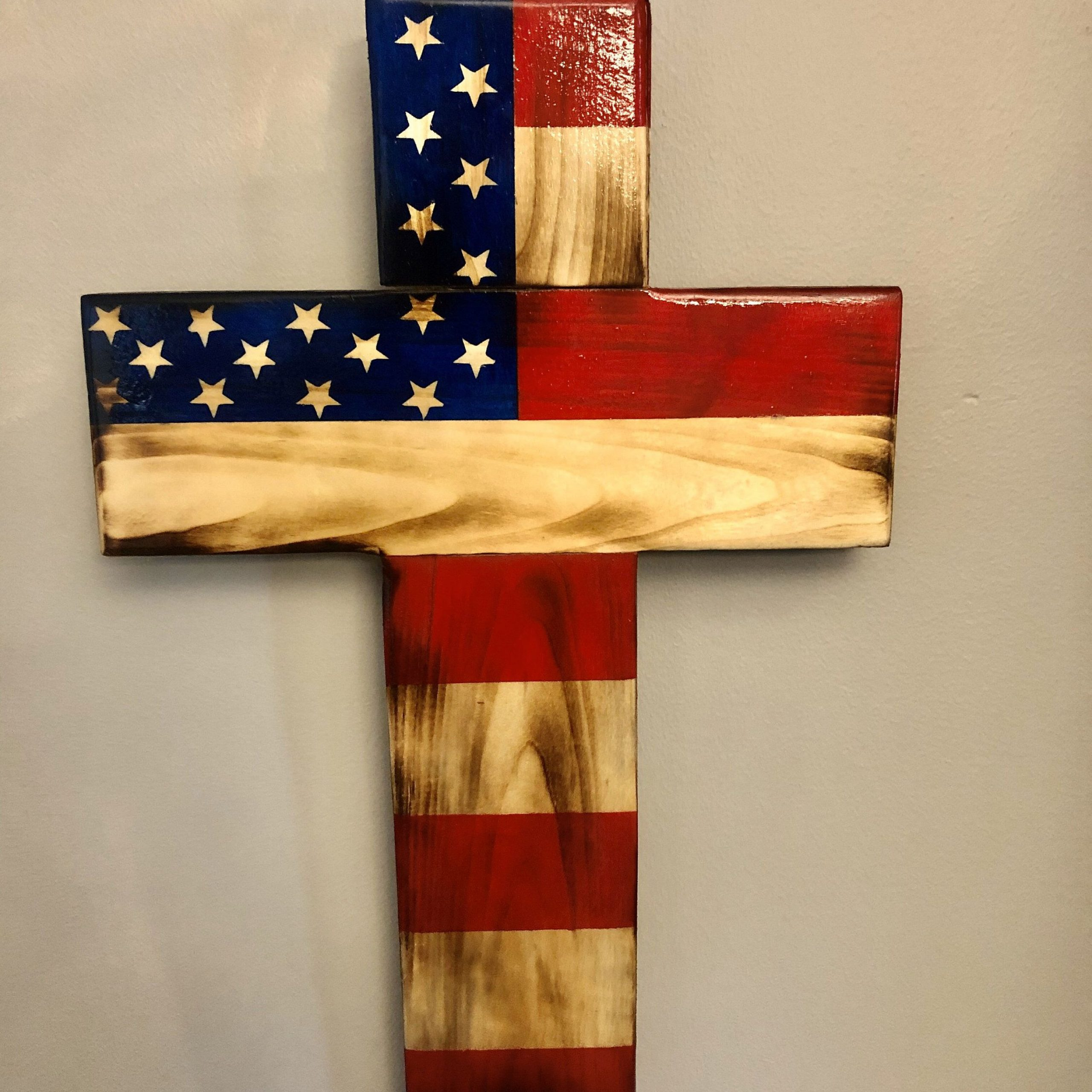 Wood Cross American Flag Wood Cross Wooden Cross | Etsy In With Recent Blended Fabric Old Rugged Cross Wall Hangings (View 4 of 20)