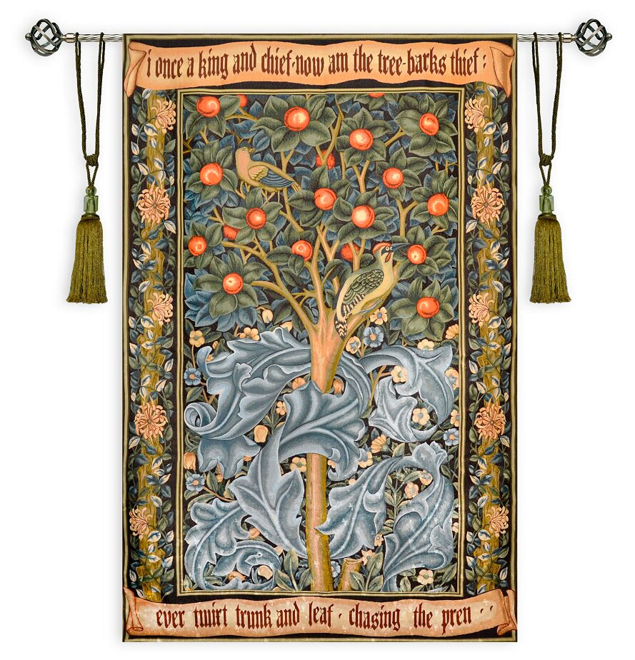 Woodpecker Tree Bird William Morris Ornament Large Tapestry With Regard To Most Popular Blended Fabric Pheasant And Doe European Tapestries Wall Hangings (View 9 of 20)