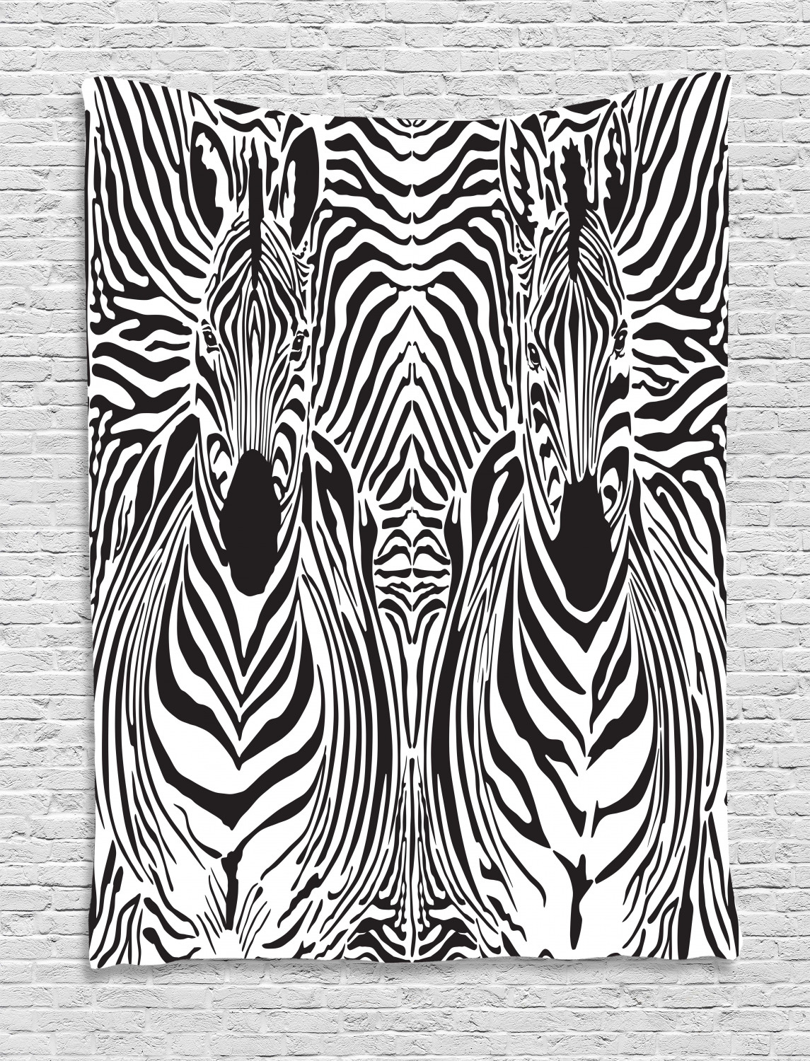 Zebra Print Decor Wall Hanging Tapestry, Illustration Pattern Zebras Skins Background Blended Over Zebra Body Heads, Bedroom Living Room Dorm Throughout Most Recent Blended Fabric In His Tapestries And Wall Hangings (View 14 of 20)