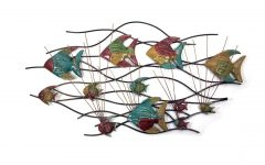 Fish Shoal Metal Wall Art