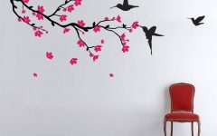 Red Cherry Blossom Wall Art