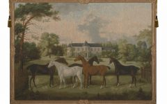 Blended Fabric European Five English Horses Tapestries