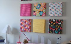 Fabric Covered Squares Wall Art