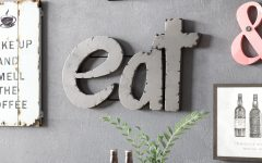 "Grey ""eat"" Sign with Rebar Decor"