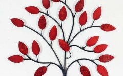 Red Tree Metal Wall Art