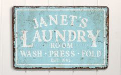 Personalized Mint Distressed Vintage-look Laundry Metal Sign Wall Decor